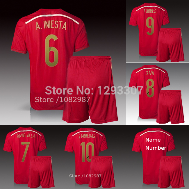 2014 Embroidery Red Home Iniesta Xavi Ramos Isco David Villa Mata Football Kit Uniform Men Sports Shirt Outfit Soccer Jersey Set(China (Mainland))