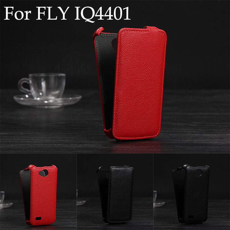 Luxury Lichee Pattern flip Leather Case for Fly IQ4401 Era Energy 2 leather cover color white, black,red(China (Mainland))
