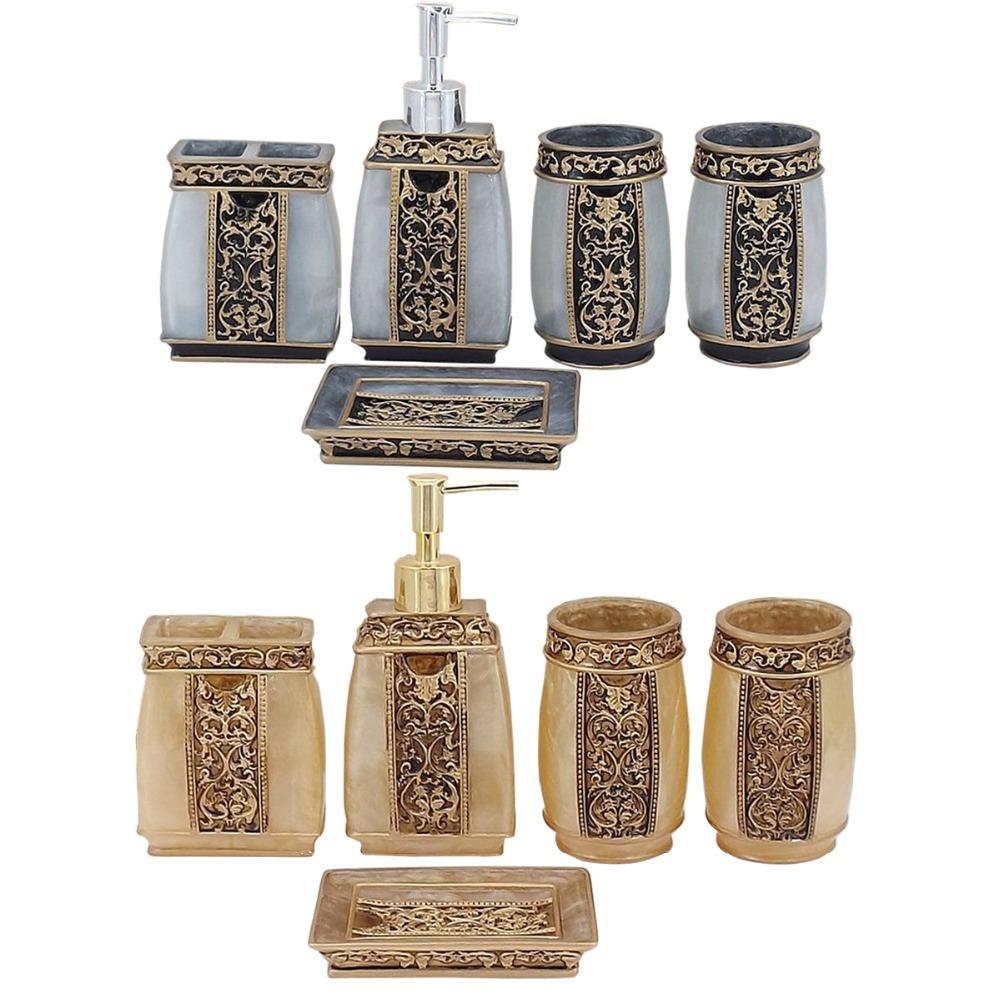 European retro hand engraved resin bath series set for Bathroom soap dispenser set