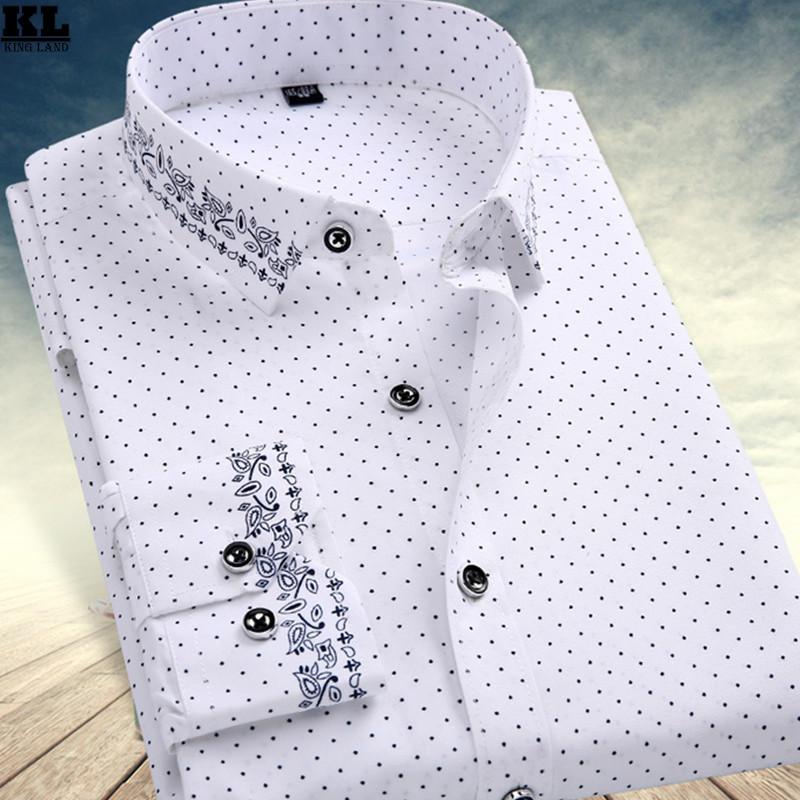 Brand Fashionable Mens Polka Dot Dress Shirt Chemise Homme Men Floral Shirts Casual Slim Fit White Full Hawaiian Designer Shirt(China (Mainland))