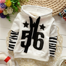 Kid Autumn 2015 New Number 56 Hooded Hoodies Child Boys Sport Sweatshirts Roupas Infantis Menino Children Striped Clothes KT227R(China (Mainland))
