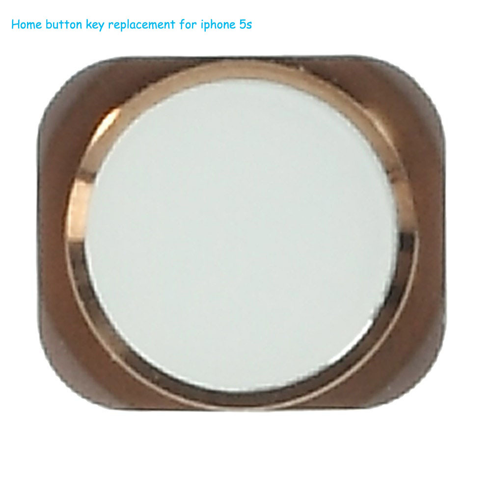 Hot sale Keyboard Home Button Replacement with metal ring for iPhone 5s - White / Gold
