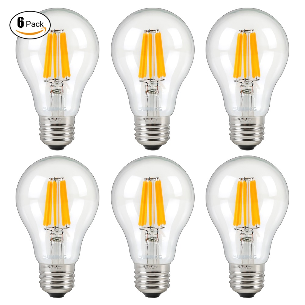 6Pcs/Pack A19 Vintage Filament Bulb 8W 2700K Warm White 800 Lumens E27 Dimmable 220-240V LED Lamp(China (Mainland))