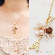 Latest Design Hot Eiffel Tower Pendant With Necklace Golden Plated Chain Fashion Jewelry 7DY7