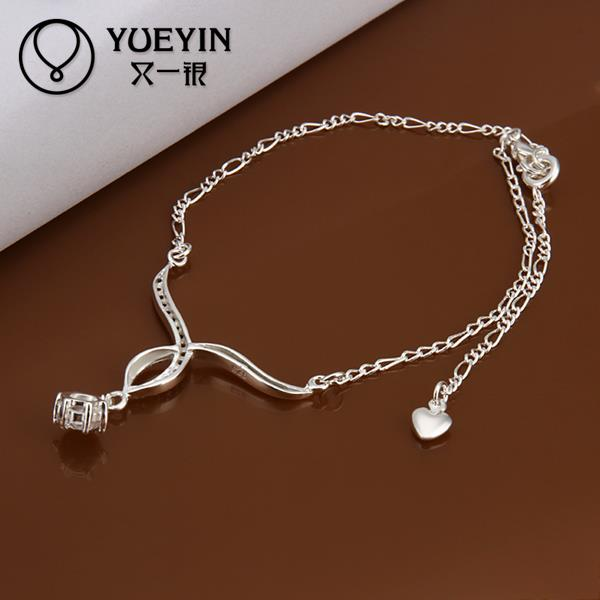 silver plated Anklets for Women barefoot sandals jewelry Wholesale Cheap White Crystal ankle bracelets(China (Mainland))