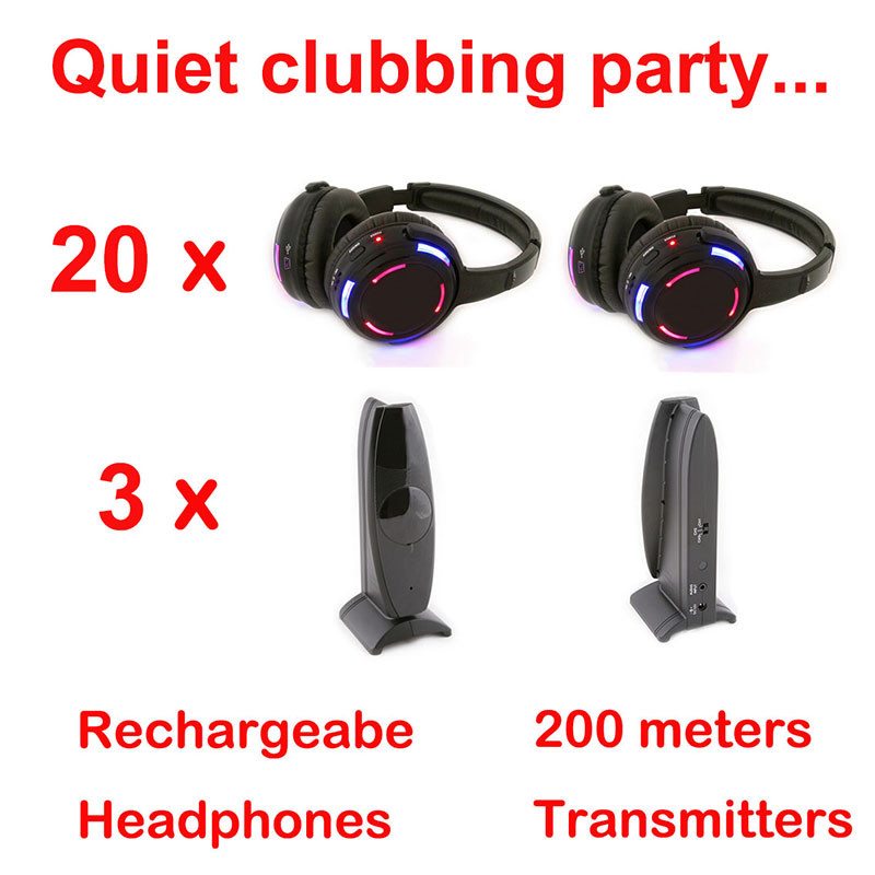 Silent Disco complete system black led wireless headphones – Quiet Clubbing Party Bundle (20 Headphones + 3 Transmitters)