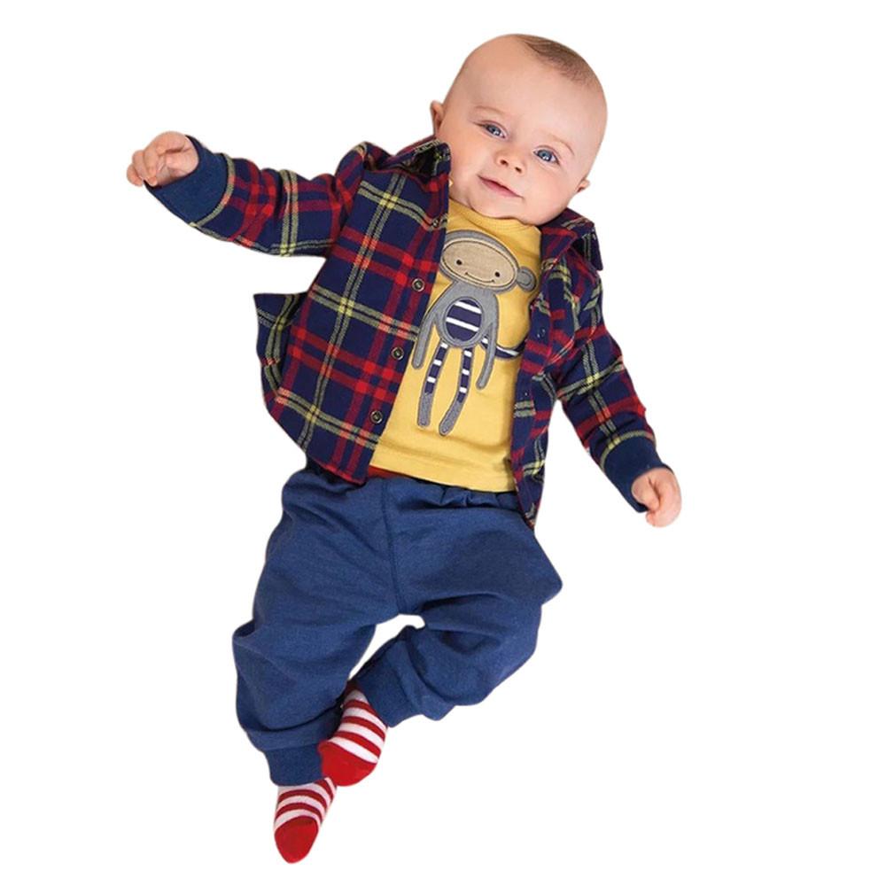 3pcs clothing set cute monkey newborn baby boy plaid coat