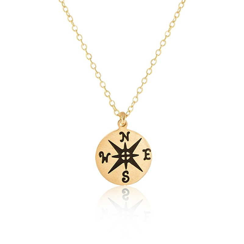 2016 Gold Flled Bijoux Choker Stainless Steel Confidently Jewelry Vintage Round Compass Charm Pendant Necklace Graduation Gift(China (Mainland))