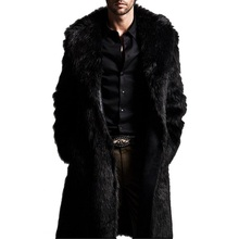 Plus Size Winter Men Coat 2015 Faux Mink Fur Outerwear Casual Medium-long Black Hooded Fur Collar Warm Leather Jacket(China (Mainland))