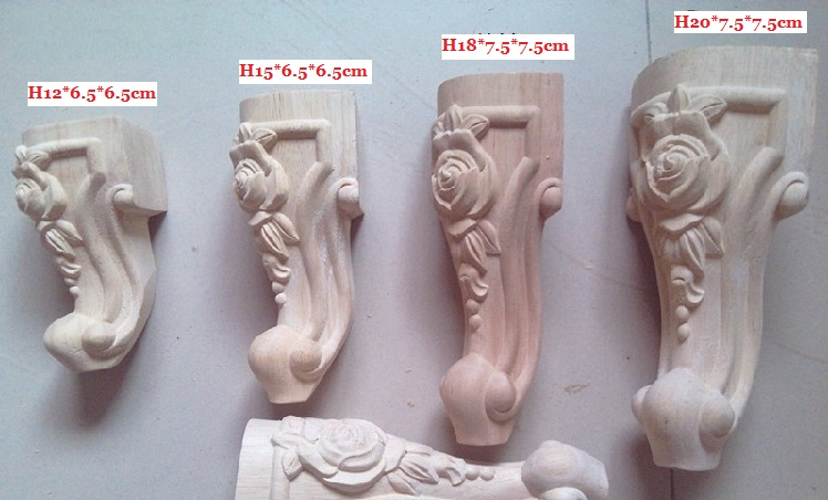4PCS/LOT 12*6.5*6.5cm High Quality Rubber Wood Carved Furniture Leg Legs Feet(China (Mainland))