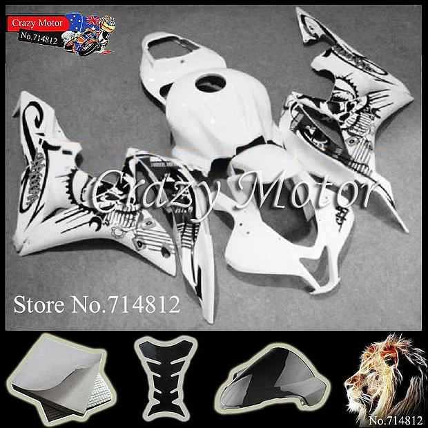 * black graffiti white scrawl CBR600RR 2007 2008 INJ 2007-2008 Fairings INJECTION MOLD Body Kit Fairing Honda CBR 600 RR 200 - Crazy Motor store