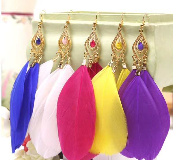 !Hot Sell/female fashion jewelry earrings/Bohemia style retro drop feather Earrings(Mini Order $10,Mix Order) - Online Store 522971 store