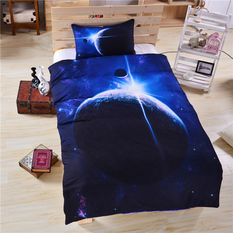 Galaxy bed set earth moon print gorgeous unique design for Outer space design group pty ltd