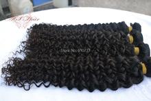 """3 pacotes 7A malásia Virgin cabelo encaracolado trama 12 """" – 30 """" extensão do cabelo humano weave grátis frete"""