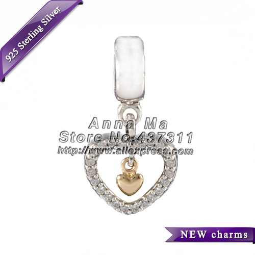 NEW S925 Silver Forever In My Heart Hanging 14K Gold With CZ Dangle Charm Beads Fit European charms Bracelets & Necklaces GO061(China (Mainland))