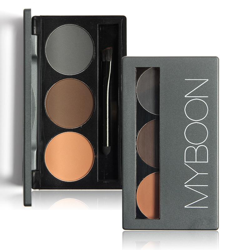 Eye Brows Powder Palette 3 Shade Waterproof Eyebrow Mirror Brushes inside MYBOON B03 - WOVJ Beauty Shop store