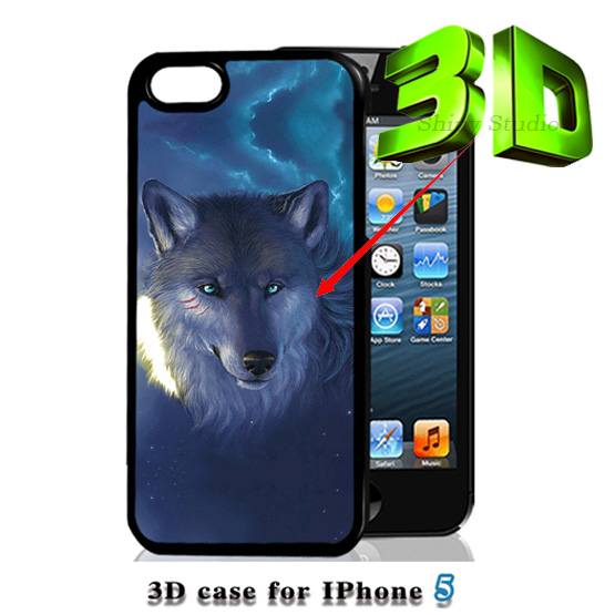 3D Wolf Animal Painting Case iPhone 4 4s 5 5s s hard plastic back luxury mobile phone protective cover capa Brand New Design