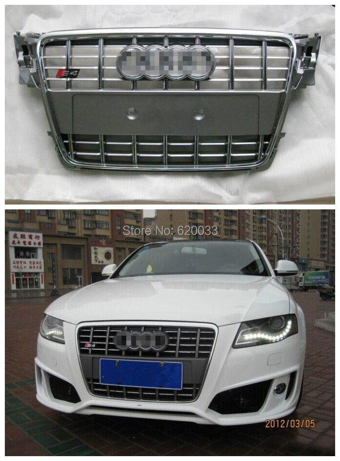 Super Quality Mesh Grill for A4 B8 S4 Front Bumper Grille Honeycomb 2009-2012 (Gray painted chrome frame with chrome emblem)<br><br>Aliexpress
