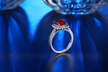 White gold filled Wedding Rings For Women Ruby Red CZ Diamond fashion Silver Jewelry Cubic Zircon