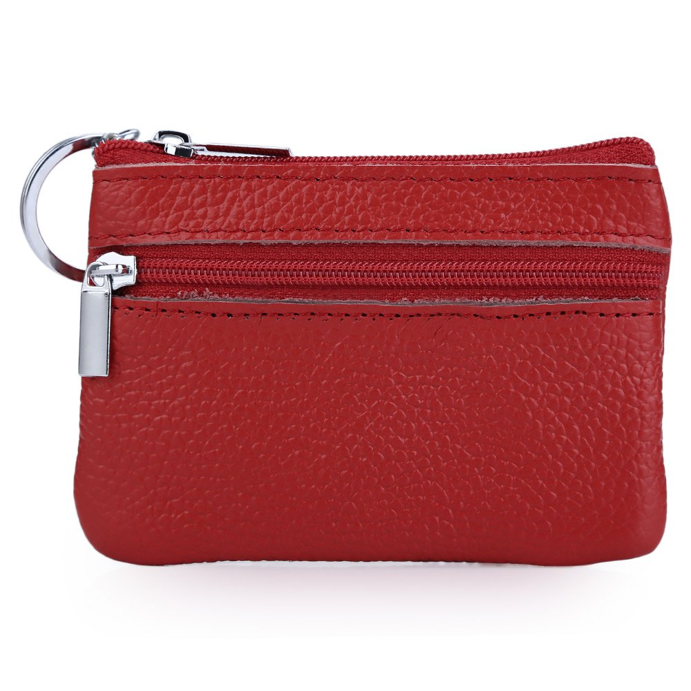 Simple Unisex Wallets Money Holder Case Solid Color Leather Double Zippers Horizontal Bag Women Leather Coin Purse With Key Ring