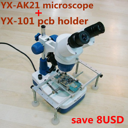 20x-40x Stereo binocular Microscope for cell phone Mobile Phone Repair with Top and Bottom LED light YAXUN AK21 with PCB STAND(China (Mainland))