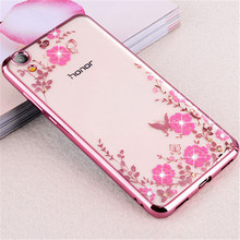 Buy Huawei Y6 II Case 5.5 inch Flower Silicone Bling Diamond Soft TPU Clear Back Cover Huawei Y6 II Y6II Cases Funda Capa for $2.99 in AliExpress store