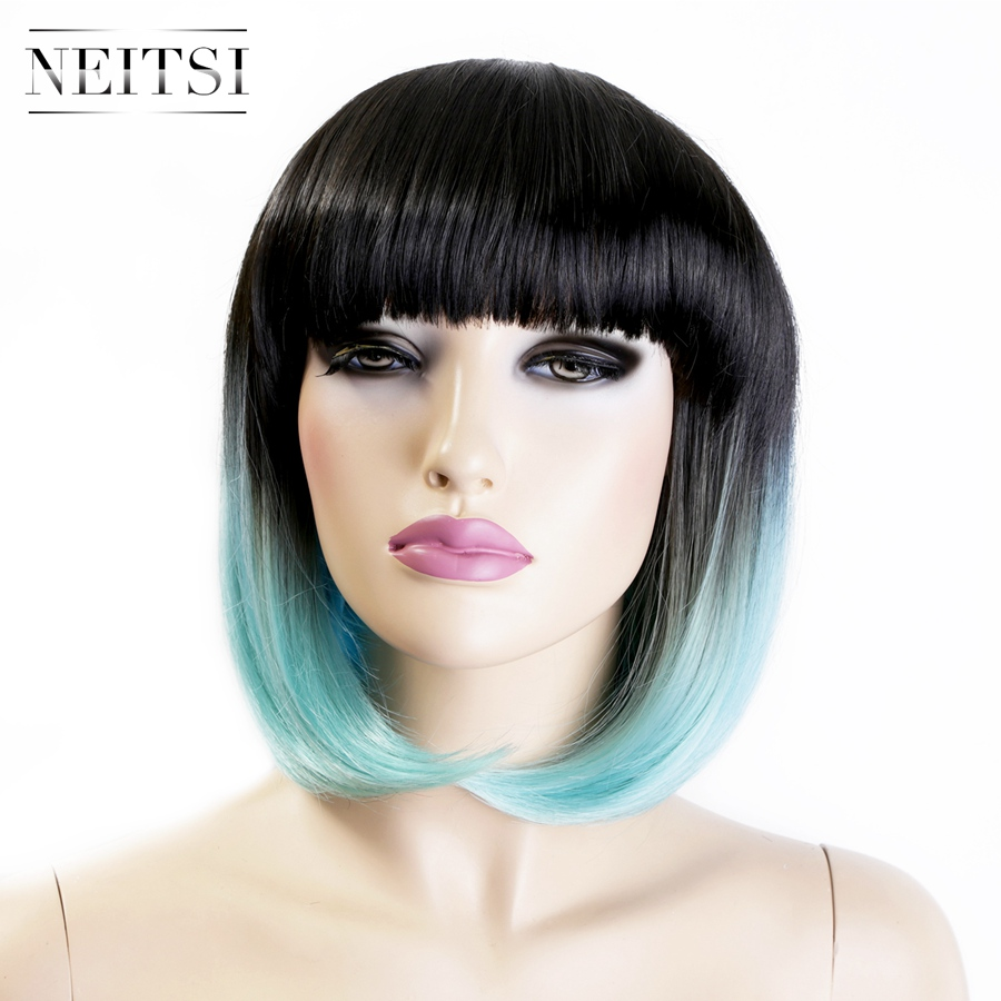 Neitsi Ombre Highlight Synthetic Short Wigs 1PC Two Tone L.Blue Ombre Color Fashion Straight Bob Wigs Cosplay Wigs Fast Shipping(China (Mainland))
