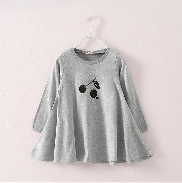 Free shipping, Cotton,Autumn sweet cherry Dress For girls  GIrls Grey Dark Blue Girls large Pendulum Dress HD<br><br>Aliexpress