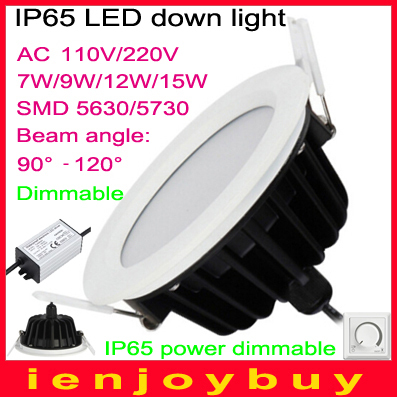 50pcs/lot Waterproof AC85V~265V dimmable 7W/10W/12W/15W SMD LED 5630/5730 LED Kitchen light Bathroom LED downlight(China (Mainland))