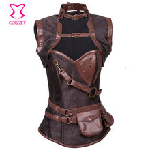 Steampunk Corsets Gothic Clothing Vintage Brown Brocade & Leather Bustier Steel Boned Waist Training Corset Burlesque Costume