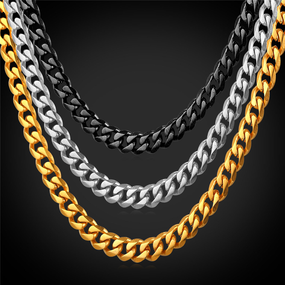 Stainless Steel Cuban Link Chain Necklace Men 6MM Width Wholesale Black Gun/Gold Plated Chain Mens Jewelry GN2276 )