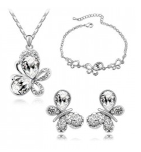 Austria crystal accessories delicate butterfly earrings necklace bracelet three piece set - Jewelry Factory Store store