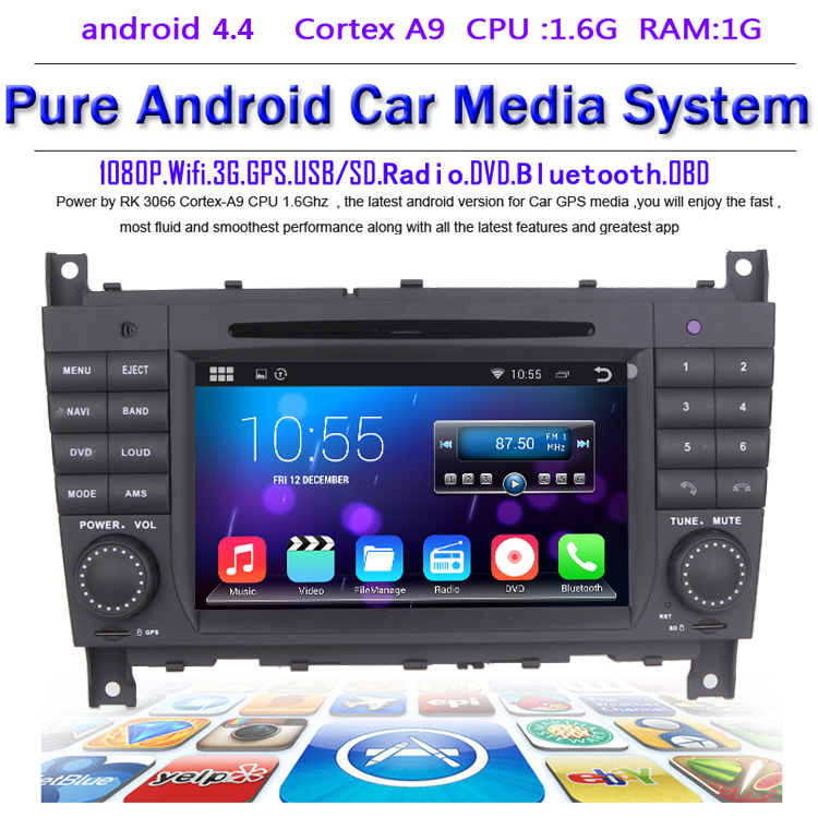 Android 4.4.4 Car DVD for Mercedes Benz C Class W203 2004-2007 c200 C230 C240 C320 C350 CLK W209 2005 headunit GPS Radio WiFi 3G(China (Mainland))