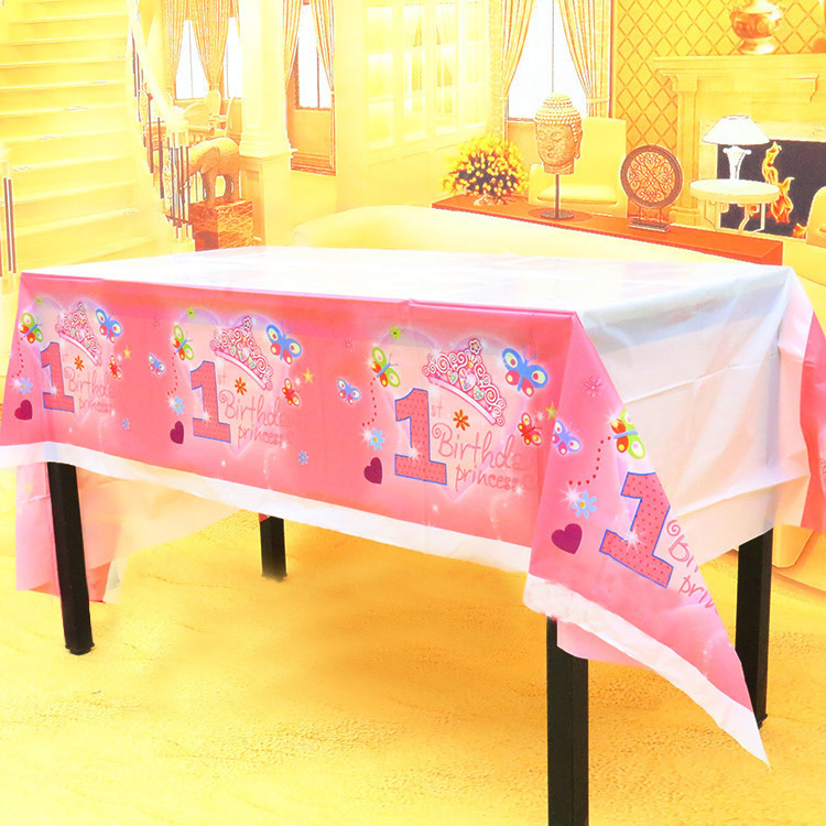 220*130cm Children's Day Birthday party Decor PLASTIC Table cover blue pink my 1st birthday theme Party table cloth(China (Mainland))