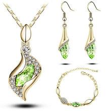 MODA מכירות מתנות יוקרה אלגנטית אופנה חדשה עיצוב זהב מלא צבעוני האוסטרי קריסטל Drop סטי נשים(China)