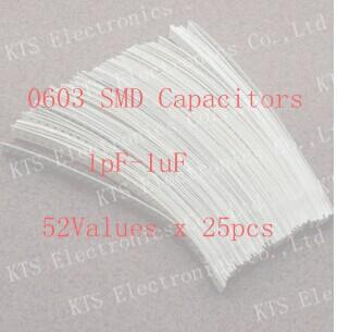 ! 0603 SMD Capacitor Kit assorted kit 1pF~1uF,52values*25pcs=130Samples kit,