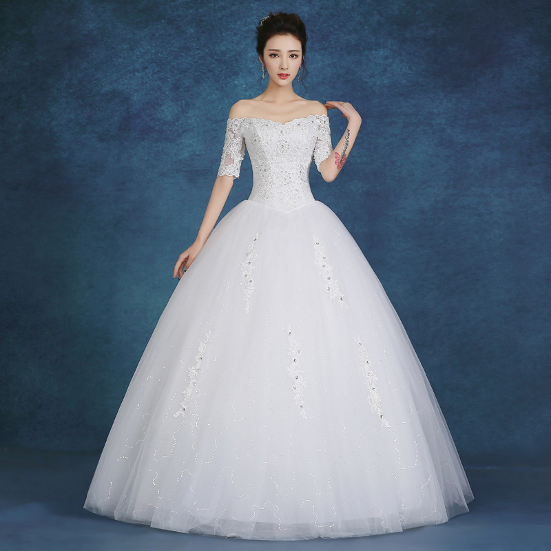 Sexy lace white vintage wedding dresses 2016 off the for Plus size off the shoulder wedding dress