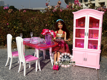 Free Shipping Girl birthday gift plastic Play Set Furniture Kitchen accessories Dining table + Wine cabinet for barbie doll