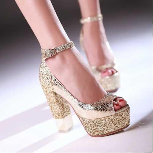 2015 ankle strap platform high thick heels summer sandals vintage peep toe high heels summer women wedding sandals