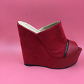 Red Suede Women Slipper Platform Open Toe Women Shoes Slides Wedges Shoes Ladies Zipper Decorated Open