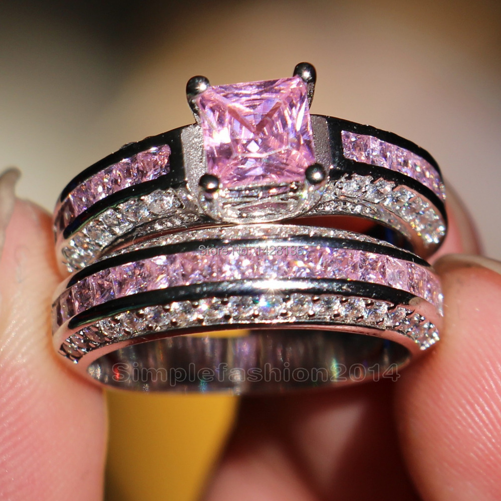 victoria wieck trendy engagement 10kt white gold filled pink sapphire simulated diamond wedding band ring set - Pink Diamond Wedding Rings