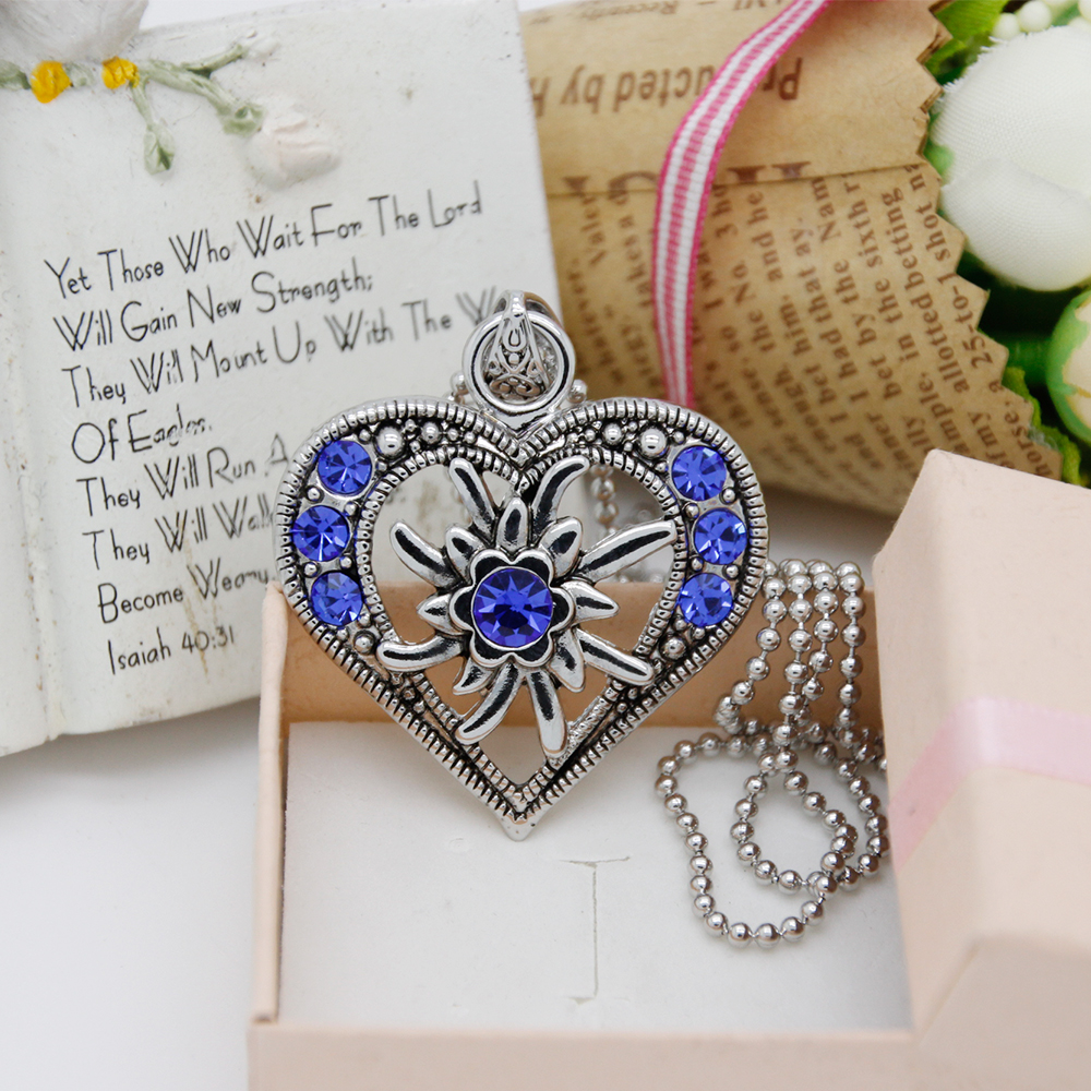 Fashion Blue Rhinestone Antique Heart Pendant Trachten Style Necklace Wholesale Statement Necklace for Women FN0032-D(China (Mainland))