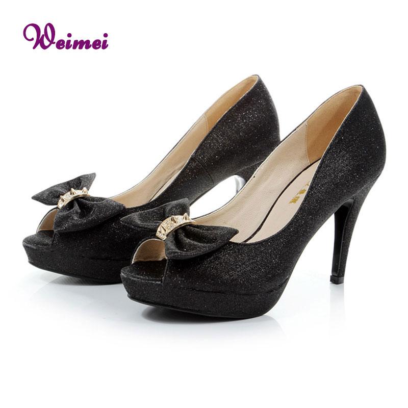 Ladies High Heel Shoes Studded Heels Open Toe Black Platform Shoes Women Shoe High Heel Party Prom Peep Toe Pumps Size 6.5(China (Mainland))