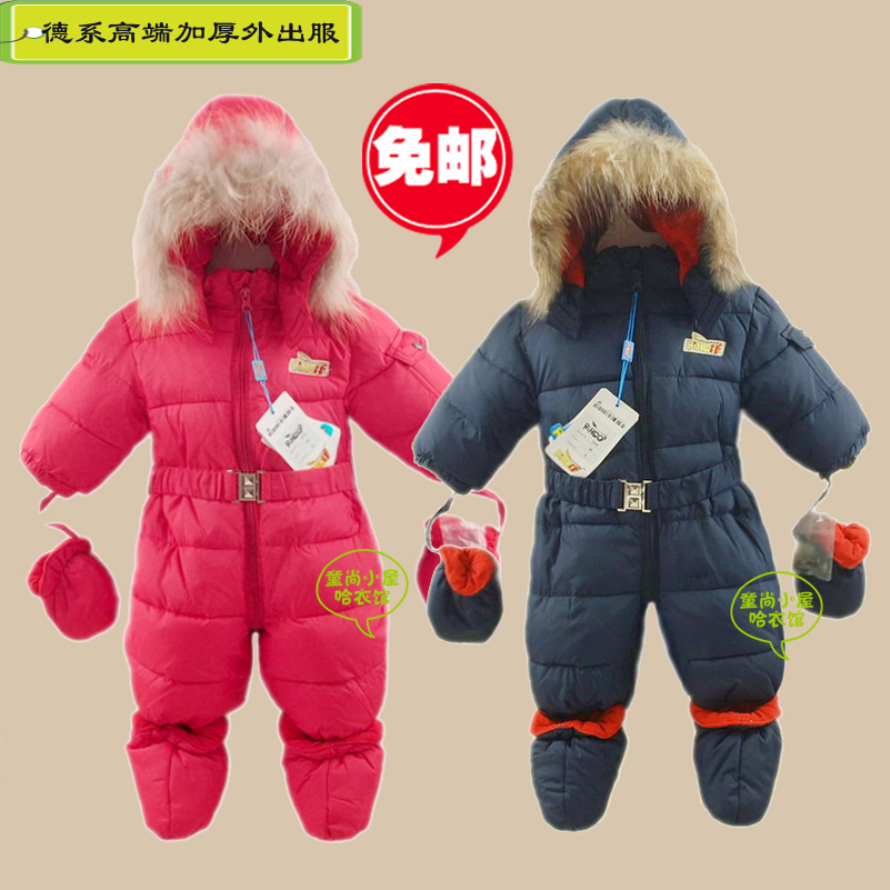 Free shipping New 2014 winter baby clothing boy girls Fur collar thick rompers child padded warm outerwear kids wadded clothes<br><br>Aliexpress