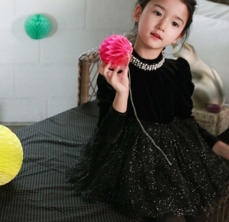 wholesale Autumn and Winter Korean Syle Fleece Pearls Velour Black Girl Dress Children Thickening Dresses Clothes <br><br>Aliexpress