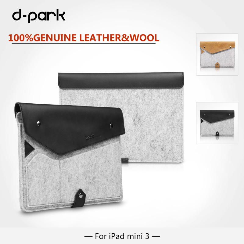Free Shipping D-park Simple Style Wool Felt & Crazy horse leather sleeve Case For apple ipad mini 4/3 bags For 7.9 inch Tablet(China (Mainland))