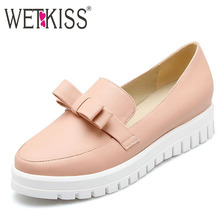 New Women Flats Sweet Bowtie Charms Shoes Skid Proof Platform Shoes Woman Solid Color Spring Flats 2016 Casual Women Shoes
