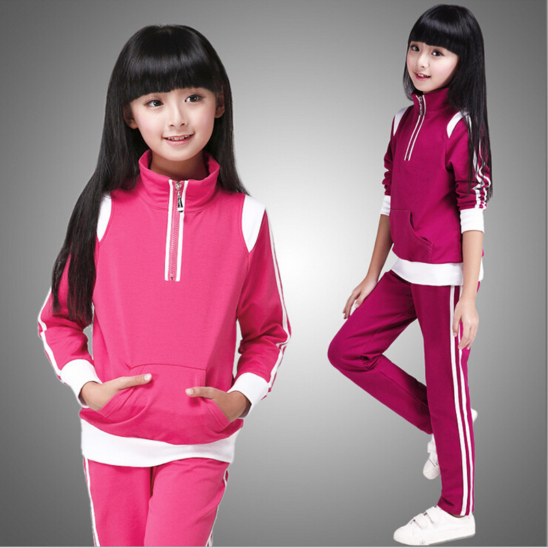 Autumn girl suits new 2016 autumn and spring girls long-sleeved sets exercise students big kids sport suit leisure two-piece(China (Mainland))