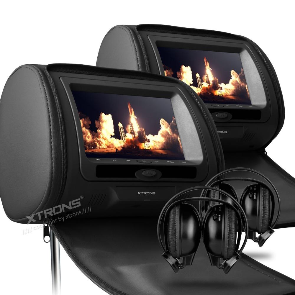 "XTRONS Black 2x7"" Digital Screen zipper Car Headrest DVD Player USB FM Game Disc Remote Control with IR Wireless Headsets"