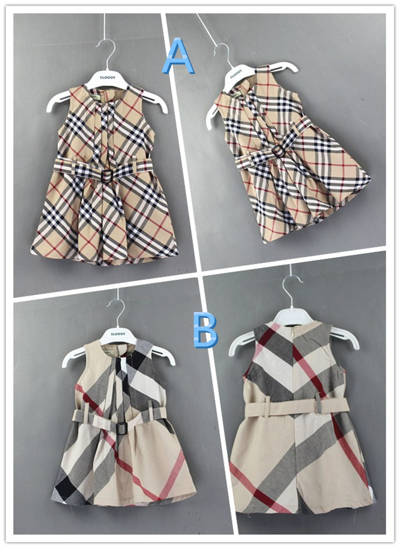 Cotton Plaid Dress Sleeveless Kids Dress Baby Girls Dress Girls Spring Clothes Infant Girl Summer Clothes 5pcs/lot Wholesale<br><br>Aliexpress